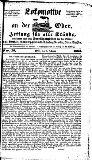 Lokomotive an der Oder vom 03.02.1863