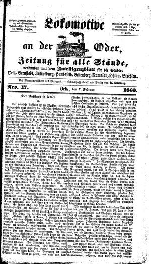 Lokomotive an der Oder vom 07.02.1863
