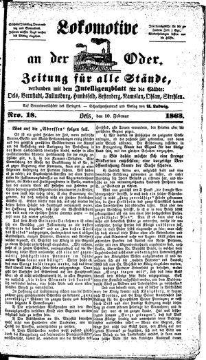 Lokomotive an der Oder vom 10.02.1863