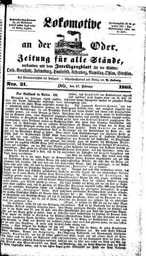 Lokomotive an der Oder on Feb 17, 1863