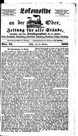 Lokomotive an der Oder on Feb 21, 1863