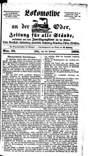Lokomotive an der Oder on Feb 24, 1863