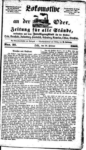 Lokomotive an der Oder vom 26.02.1863