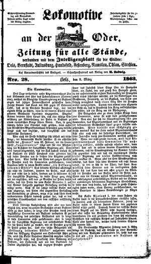Lokomotive an der Oder vom 05.03.1863