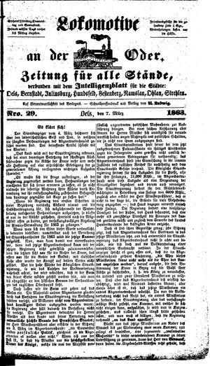 Lokomotive an der Oder vom 07.03.1863