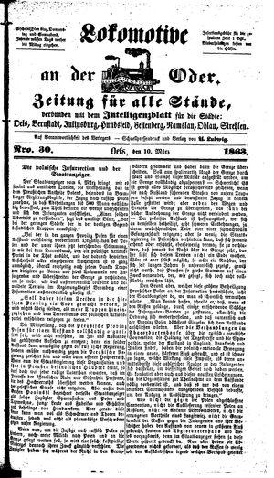 Lokomotive an der Oder vom 10.03.1863