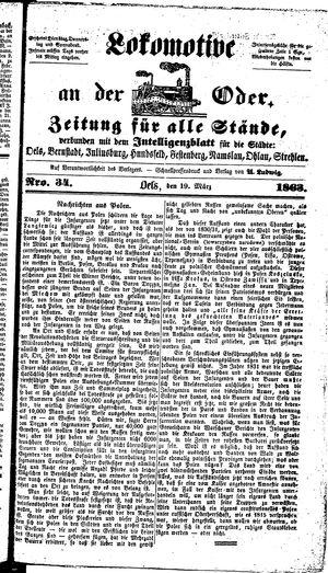 Lokomotive an der Oder vom 19.03.1863