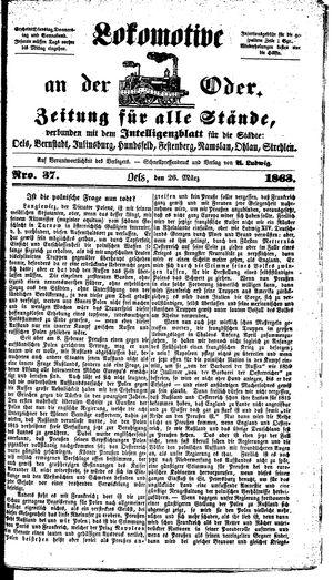 Lokomotive an der Oder vom 26.03.1863