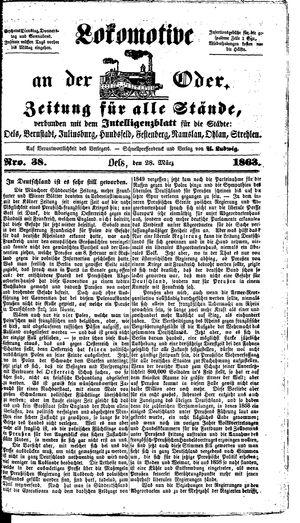 Lokomotive an der Oder vom 28.03.1863