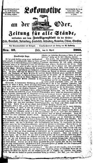 Lokomotive an der Oder vom 02.04.1863