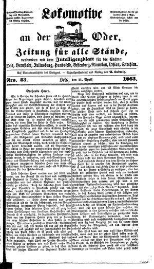 Lokomotive an der Oder vom 11.04.1863