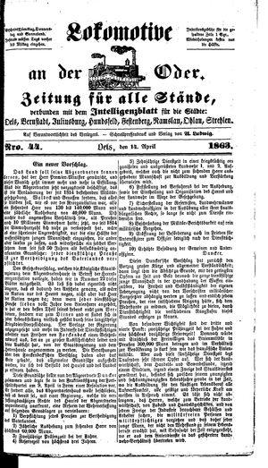 Lokomotive an der Oder vom 14.04.1863