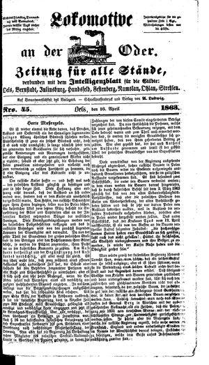 Lokomotive an der Oder vom 16.04.1863