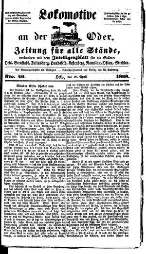 Lokomotive an der Oder on Apr 18, 1863