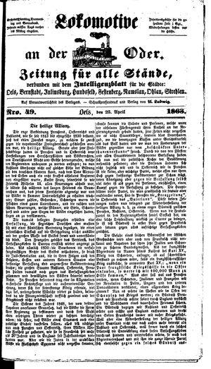 Lokomotive an der Oder vom 25.04.1863