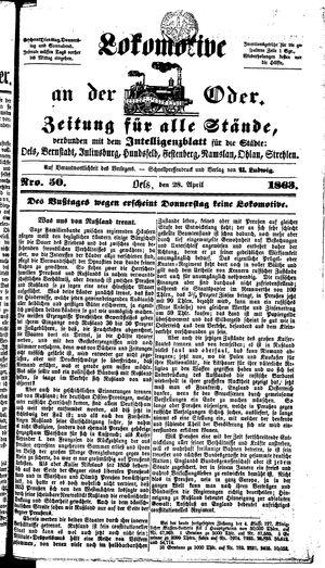 Lokomotive an der Oder vom 28.04.1863