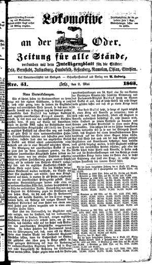Lokomotive an der Oder vom 02.05.1863