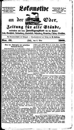 Lokomotive an der Oder vom 05.05.1863