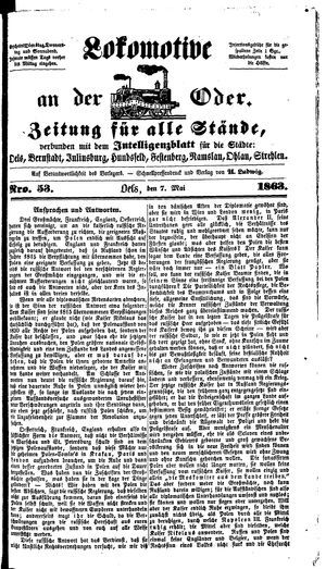 Lokomotive an der Oder vom 07.05.1863