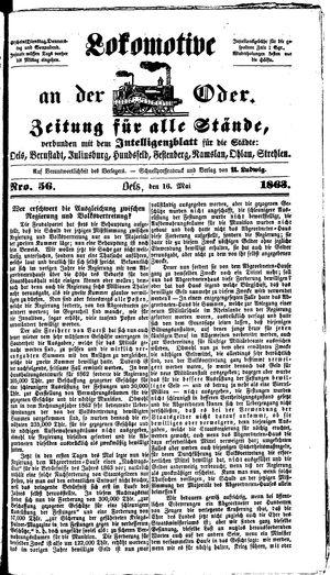 Lokomotive an der Oder vom 16.05.1863