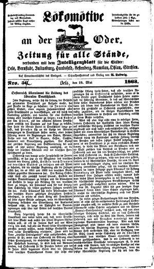Lokomotive an der Oder vom 19.05.1863