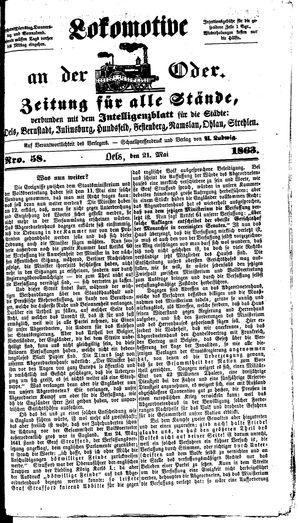Lokomotive an der Oder vom 21.05.1863