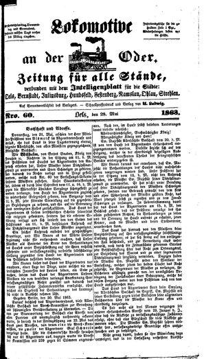 Lokomotive an der Oder vom 28.05.1863