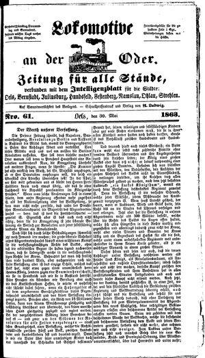 Lokomotive an der Oder vom 30.05.1863