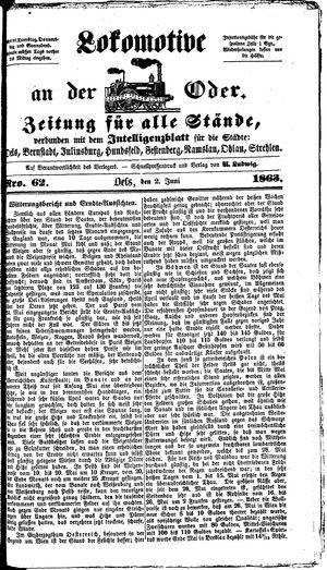 Lokomotive an der Oder vom 02.06.1863