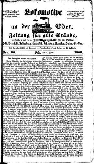 Lokomotive an der Oder vom 04.06.1863