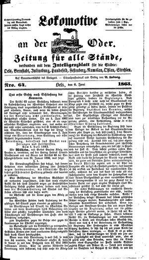 Lokomotive an der Oder vom 06.06.1863