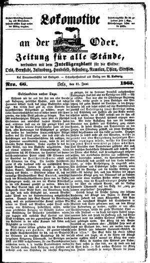 Lokomotive an der Oder vom 11.06.1863