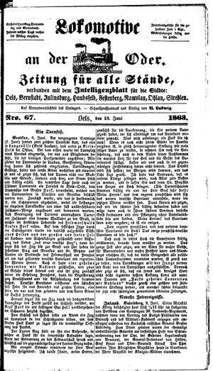 Lokomotive an der Oder vom 13.06.1863