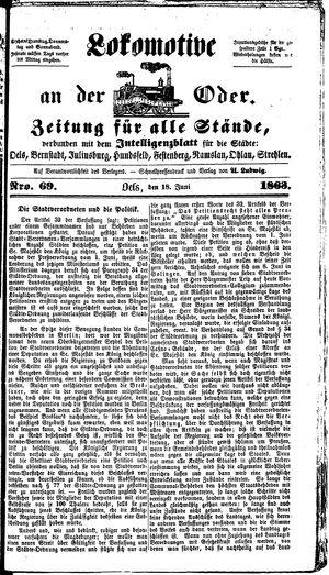 Lokomotive an der Oder vom 18.06.1863