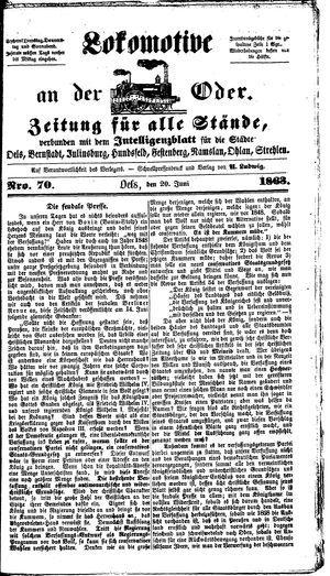 Lokomotive an der Oder vom 20.06.1863