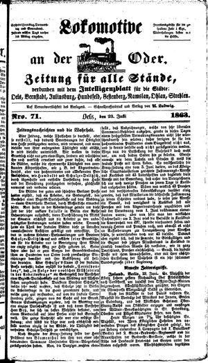 Lokomotive an der Oder vom 23.06.1863