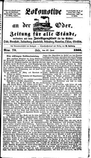 Lokomotive an der Oder vom 27.06.1863