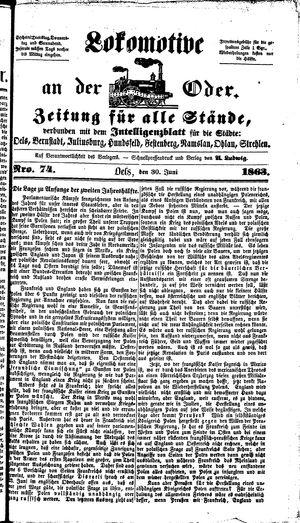 Lokomotive an der Oder vom 30.06.1863