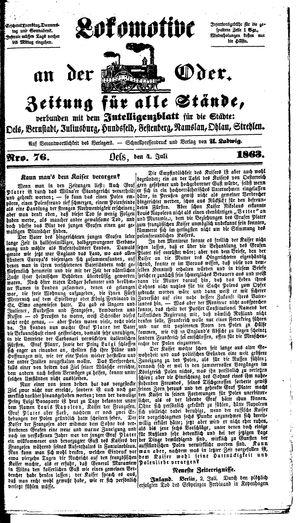 Lokomotive an der Oder on Jul 4, 1863