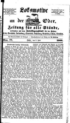 Lokomotive an der Oder vom 07.07.1863