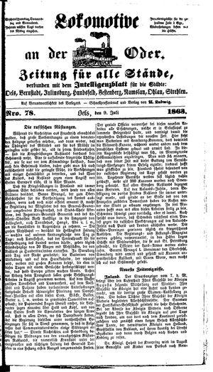 Lokomotive an der Oder vom 09.07.1863