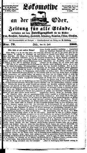 Lokomotive an der Oder vom 11.07.1863