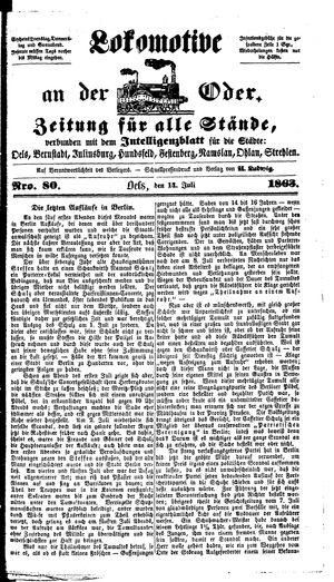 Lokomotive an der Oder vom 14.07.1863
