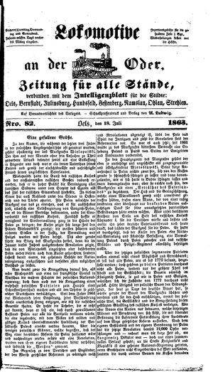 Lokomotive an der Oder vom 18.07.1863
