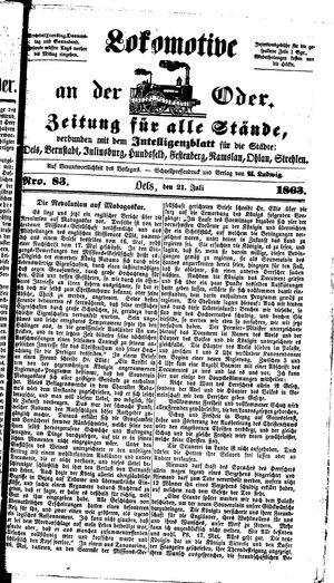 Lokomotive an der Oder vom 21.07.1863