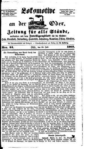 Lokomotive an der Oder vom 23.07.1863