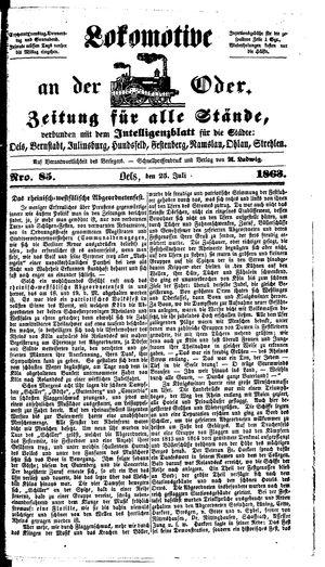Lokomotive an der Oder vom 25.07.1863