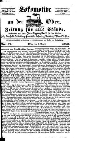 Lokomotive an der Oder vom 06.08.1863