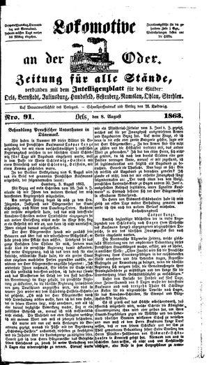 Lokomotive an der Oder vom 08.08.1863