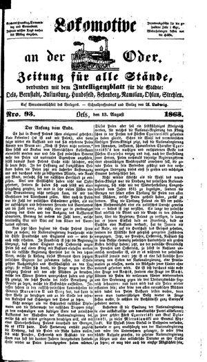 Lokomotive an der Oder vom 13.08.1863